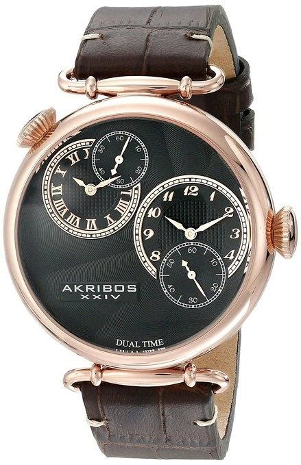 Swiss Army Ba702 Dualtime Brown Leather akribos xxiv ak796rg analog display quartz brown leather