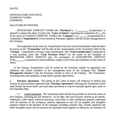 Letter Of Intent To Purchase Furniture letter of intent to purchase 9 free documents