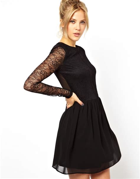 black mesh skater dress with sleeves www imgkid