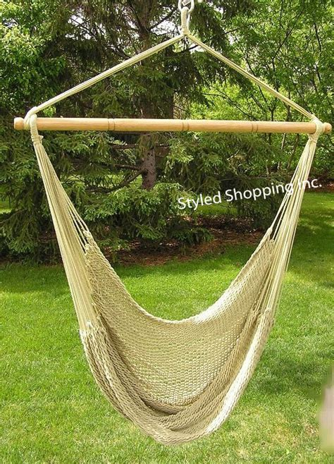 hammock chair swing deluxe extra large tan soft poly rope hammock swing chair
