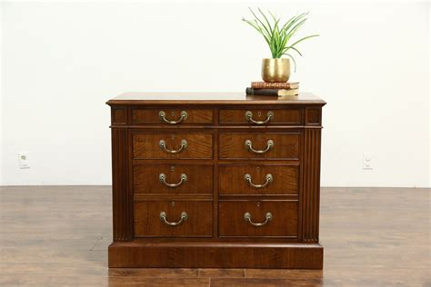 file credenza sold custom 6 drawer lateral walnut executive vintage