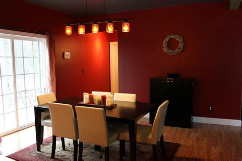 red dining room walls paint speckled pawprints board and batten dining room