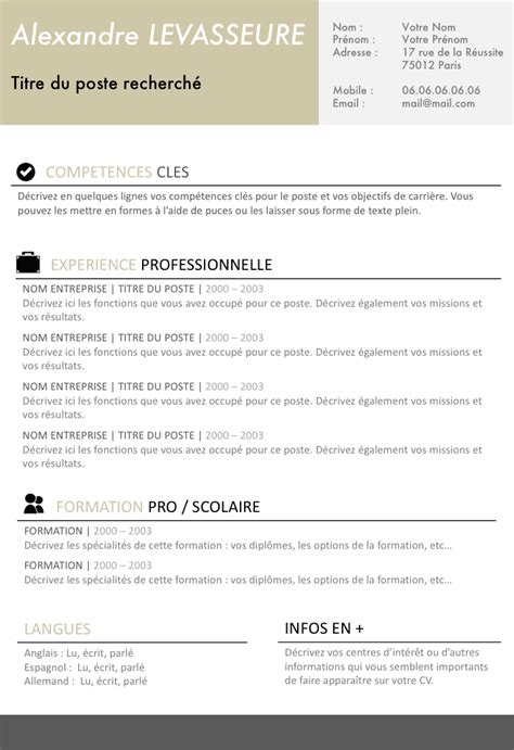 Cv Francais Simple by Exemple De Cv Simple Et Efficace Gratuit 224 T 233 L 233 Charger
