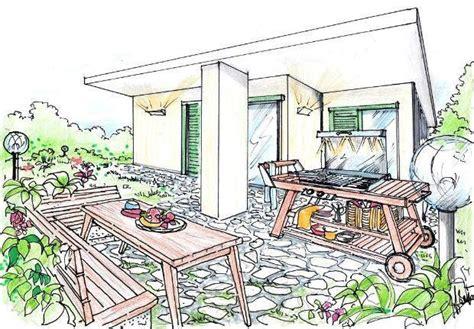 disegno giardino barbecue da giardino