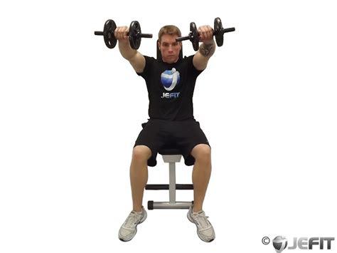 seated dumbbell bench press dumbbell seated front raise exercise database jefit