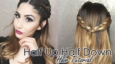 half up half down hairstyles tutorial youtube half up half down hair tutorial double dutch braids