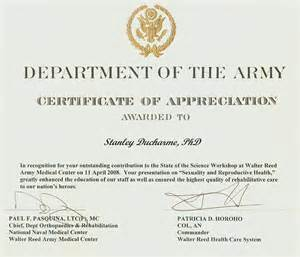 army certificate of appreciation template therapy rehabilitation disability and general