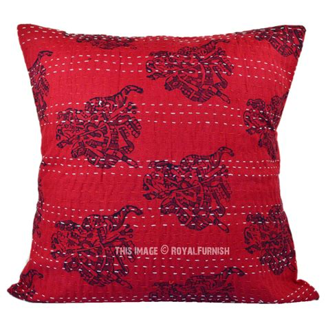 Handmade Throw Pillows - decorative handmade maroon camel printed kantha throw