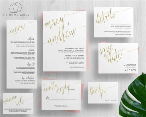 printable wedding invitations gold printable gold foil wedding invitation suite calligraphy