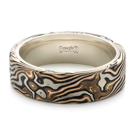 mens custom wedding rings custom s white gold and mokume wedding band 102369