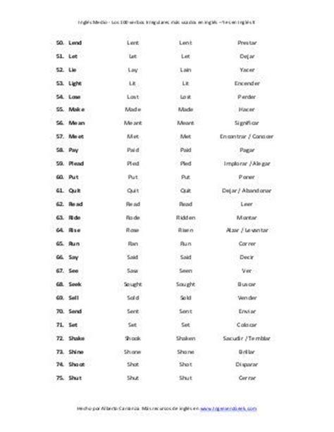 lista de phrasal verbs mas comunes en ingles para conversacion las 25 mejores ideas sobre lista verbos irregulares en