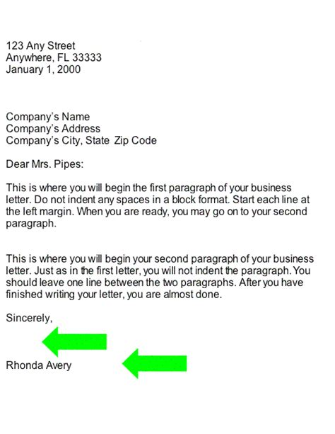 business signature on letter collection typed name and signature business letter part
