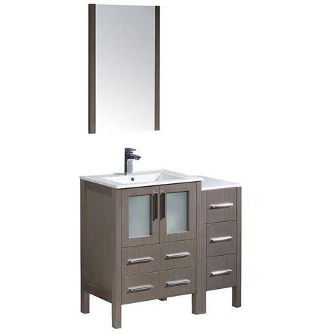 36 White Vanity Cabinet by Fresca Torino 36 In Vanity In Gray Oak With Ceramic