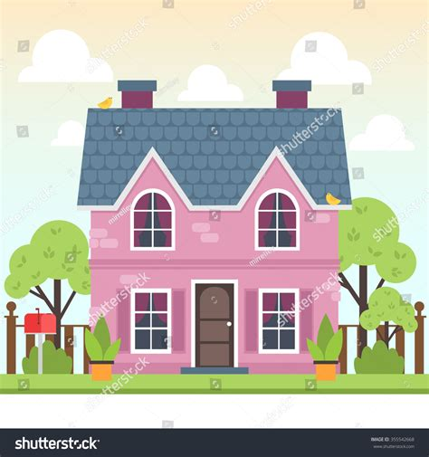 wallpaper cute house illustration cute colorful house trees bird stock vector