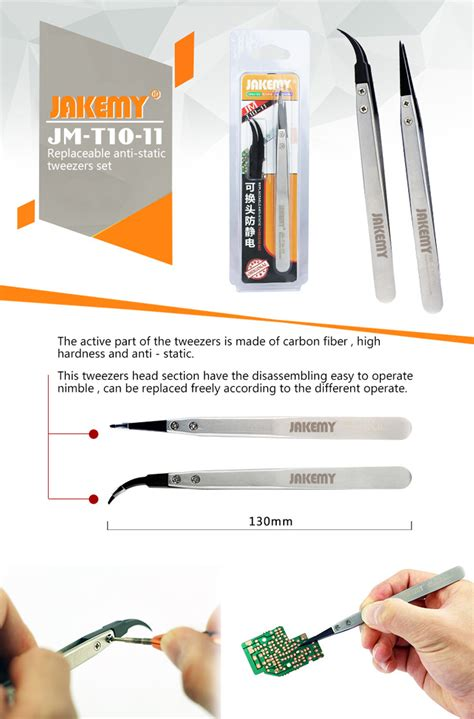 Jakemy Anti Static Pointed Tweezers Jm T6 11 jakemy jm t10 11 stainless steel anti static tip tweezers with replacing tvc mall