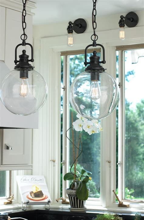 Glass Kitchen Light Fixtures Clear Glass Globe Industrial Pendant Industrial Wine Cellar And Hallway Lighting