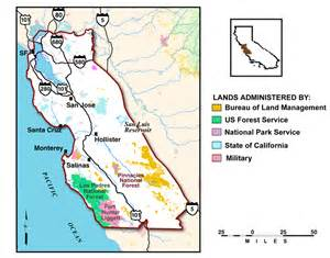 map of blm land in california map of federal and state managed lands in the central
