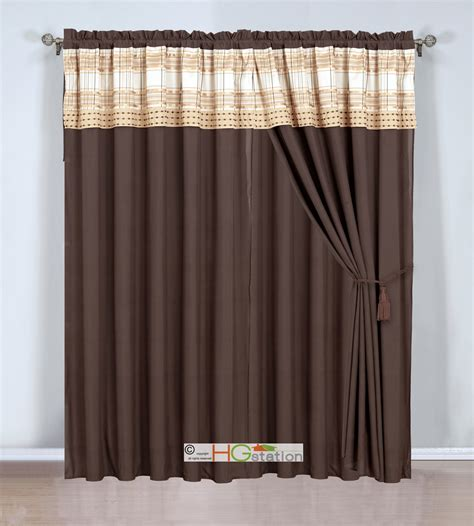 Gold Plaid Curtains 4p Plaid Striped Embroidery Curtain Set Valance Drape Liner Chagne Gold Taupe Ebay