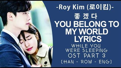 download roy kim while you were sleeping ost part 3 roy kim you belong to my world lyrics 좋겠다 while you
