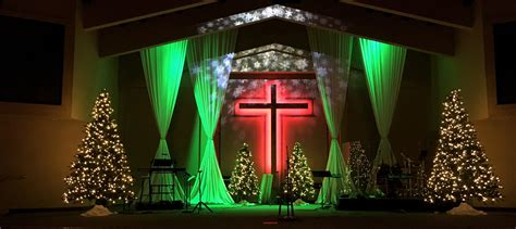 christmas stage decorations curtained church stage design ideas