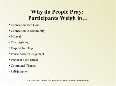 why do people methods of teaching jewish prayer i