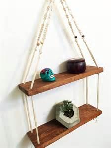 macrame hanging shelf two tier 2 colours plant shelf