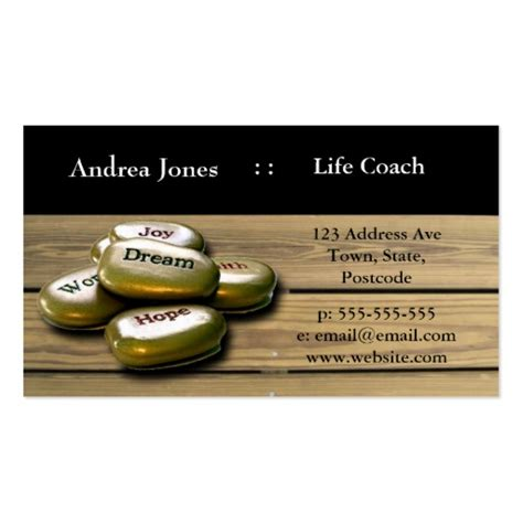 Coach E Gift Card - gold positive word stones life coach business card zazzle