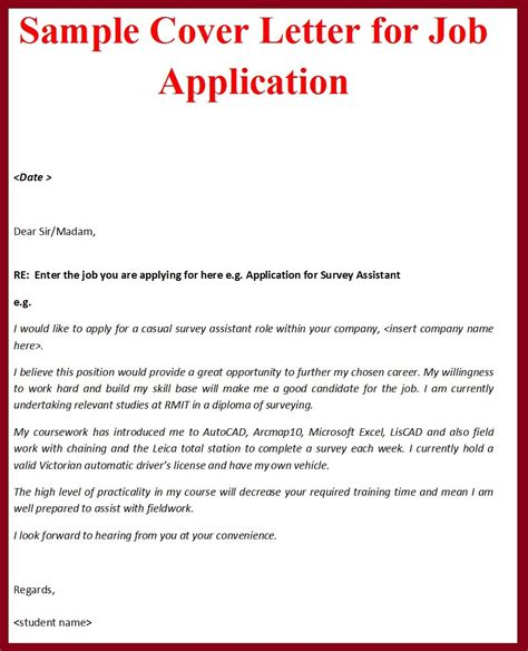 cover letter for aplication sle cover letter format for application