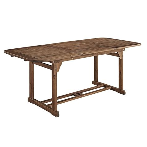 Acacia Wood Patio Dining Table In Dark Brown Owtexdb Wood Patio Dining Table