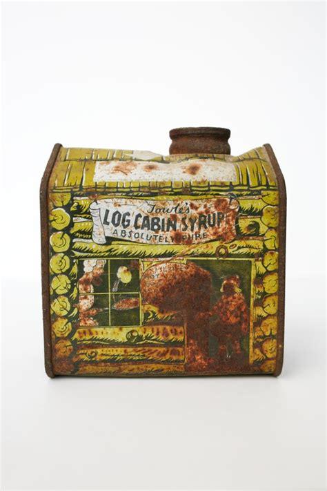 vintageantique log cabin syrup tin antique tins pinterest