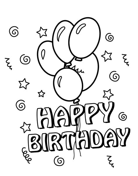 easy birthday coloring pages 25 free printable happy birthday coloring pages