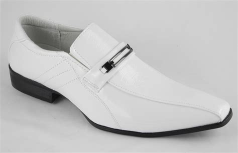 mens white patent leather look slip on wedding shoes