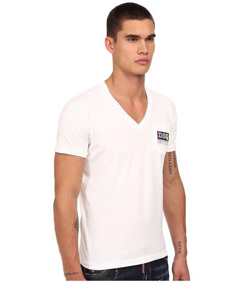 Pocket V Neck Shirt Only White lyst dsquared 178 logo pocket v neck t shirt in white for