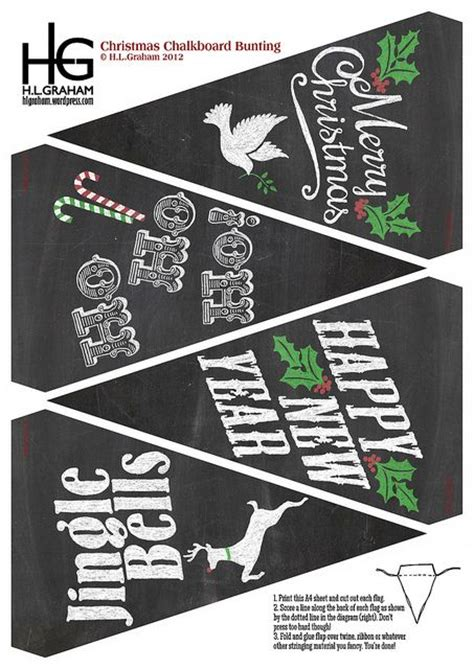 602 Best Images About Christmas Printable Banners Pictures Posters And Signs Most Are Free On Merry Bunting Template
