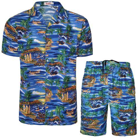 Shirt Set Mens Hawaiian Shirt Shorts Set Flower Printed