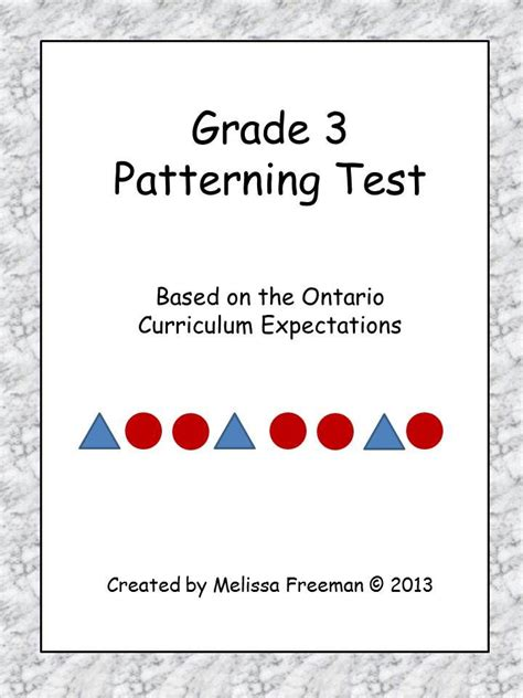 pattern questions grade 1 grade 3 patterning test ontario curriculum shape