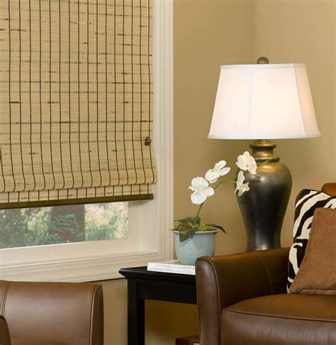 Living Room With Vertical Blinds Woven Wood Blinds Rustic Living Room Brown Cowhide