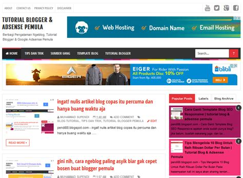 tutorial adsense blogger cara membuat blog sendiri di blogger terbaru tutorial