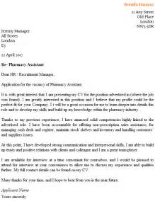 cover letter for a pharmacy assistant pharmacy assistant cover letter exle icover org uk