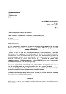 Lettre De Résiliation Orange Fibre Orange Lettre De R 233 Siliation Lettre De Motivation 2017