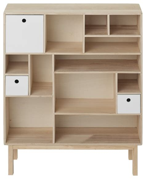 Small Wooden Bookcase Bloomingville Wooden Bookcase With 3 Small White Coloured