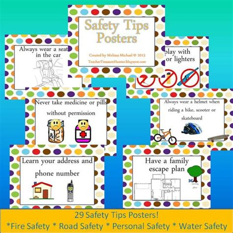 Child Safety At Home Essay by Safety Tips Posters Dots Background Water Personal Road Safety Personal Safety