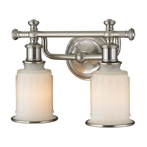 brushed nickel bathroom light fixtures elk 52001 2 acadia brushed nickel 2 light bathroom