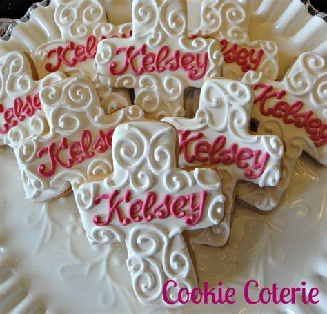Dedication Giveaways - monogrammed cross baptim confirmation baby dedication cookie favors one dozen