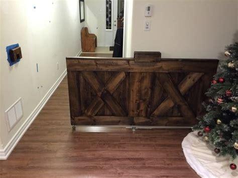 build  wooden baby gate barn door rustic style