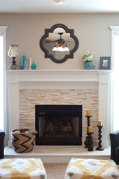 fireplace decor ideas vintage wall mirror above stone fireplace designs with