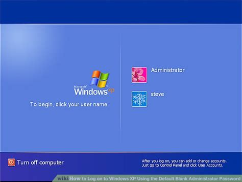 reset password windows xp virtual machine how to log on to windows xp using the default blank