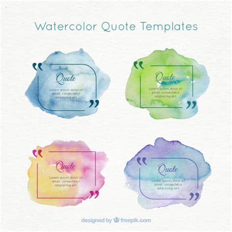 watercolor templates watercolor quote templates pack vector free