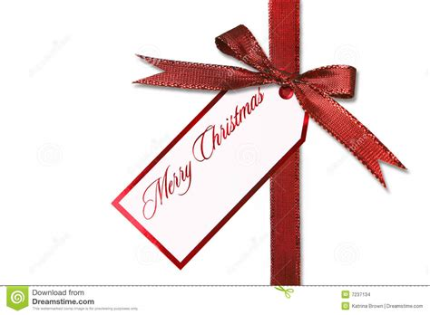 holiday gift tag and bow with message stock images image