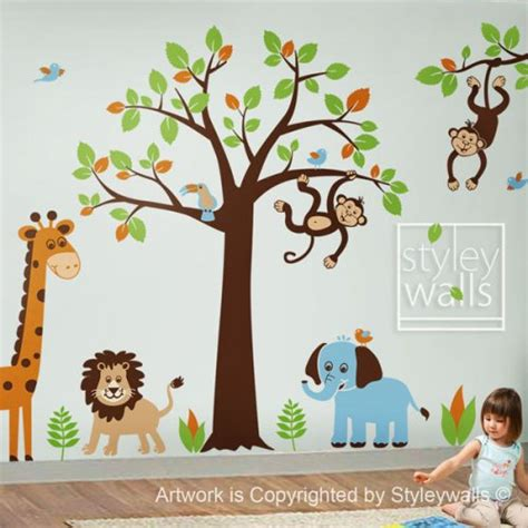 jungle nursery wall stickers safari jungle animals set nursery playroom vinyl wall decal styleywalls housewares